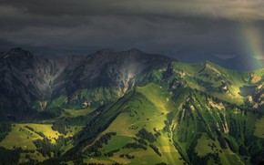 Picture mountains, clouds, Switzerland, Alps, panorama