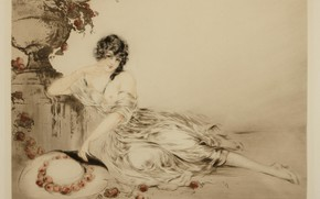 Picture apples, hat, 1923, Louis Icart, art Deco, etching and aquatint, Near the urn.