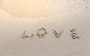 Picture sand, beach, Sea, love