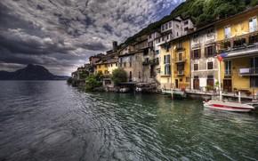 Wallpaper Gandria, Lake Lugano, lake, Switzerland, HDR