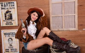 Picture face, style, hair, costume, legs, Asian, revolver