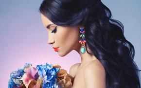 Picture decoration, flowers, face, background, portrait, bouquet, makeup, dress, brunette, hairstyle, profile, beauty
