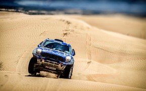 Picture Sand, Mini, Blue, Sport, Desert, Speed, Race, Rally, SUV, Rally, The front, Dune, X-Raid Team, …