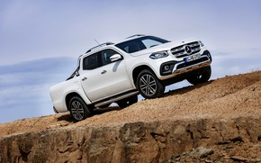 Picture white, the sky, rock, stones, Mercedes-Benz, pickup, 2017, X-Class