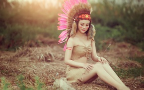Picture summer, face, style, model, hair, body, feathers, legs, paint