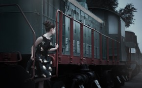 Picture summer, girl, train, cars