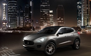 Picture concept, metallic silver, Maserati Kubang, high-rise buildings