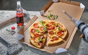 Picture Greens, Pizza, Coca-Cola
