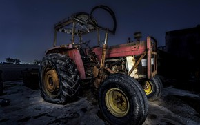 Wallpaper background, night, tractor