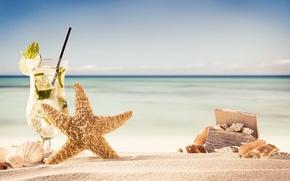 Wallpaper the sun, summer, starfish, summer, vacation, beach, sand, sea, sand, shell, mojito, seashells, beach, vacation
