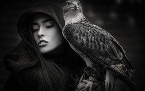 Picture girl, bird, Joachim Bergauer, The Protector
