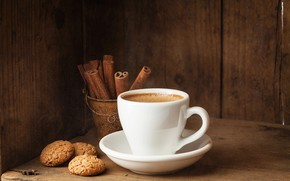 Picture coffee, cookies, Cup, cinnamon, cakes