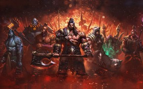 Picture fantasy, weapons, wolf, art, Orc, Fang, Liang xing, Warlords of Draenor, eagle