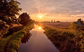 Picture road, the sky, the sun, trees, trail, river