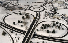 Picture road, snow, France, home, interchange, panorama, Brittany, Saint-Malo