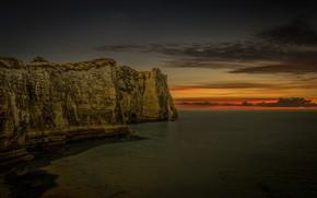 Picture sea, clouds, nature, rocks, France, glow, Normandy, Étretat
