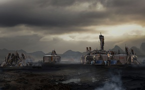 Picture surface, planet, Star Citizen, Outpost