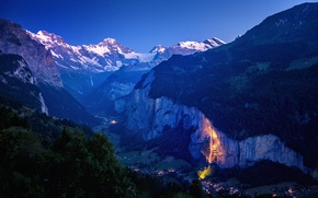 Picture lights, forest, mountains, Village, illuminated waterfall