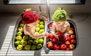 Picture children, apples, boy, girl