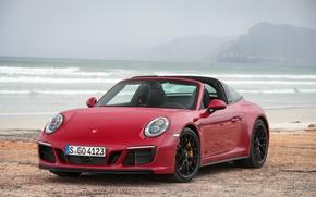 Picture sea, fog, 911, Porsche, Red, car, Porsche, sea, mountains, GTS, Targa 4, Worldwide