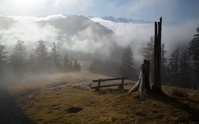 Picture mountains, fog, morning, bench