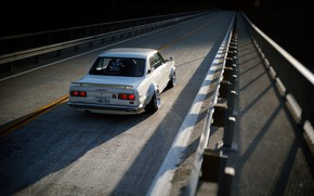 Picture Auto, Bridge, White, Machine, Asphalt, Nissan, Nissan, Car, 2000, Skyline, Nissan Skyline, 2000GT, Japanese, 2000GT-R, …