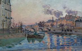 Picture river, picture, the urban landscape, Arman Hyomin, Armand Guillaumin, Paris. Marie Bridge