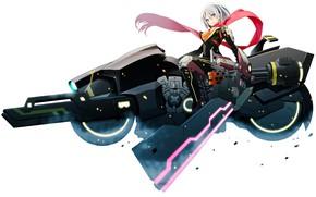 Picture girl, sword, gun, bodysuit, mecha, weapon, anime, motorcycle, ken, blade, scarf, japanese, machine gun, bishojo, …