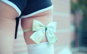 Wallpaper girl, shorts, legs, bow