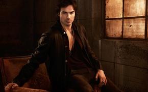 Picture look, Mike, jacket, chain, male, photoshoot, Ian Somerhalder, Ian Somerhalder, Vampire Diaries