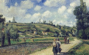 Picture road, people, hills, picture, Camille Pissarro, Landscape near PONTOISE. Overs Road