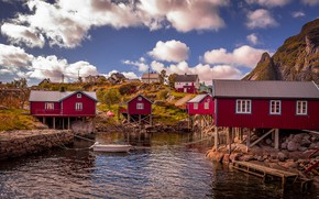 Picture the sky, the sun, clouds, mountains, stones, shore, boat, Norway, Bay, houses, The Lofoten Islands, ...