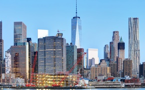 Picture building, home, New York, skyscrapers, Bay, USA