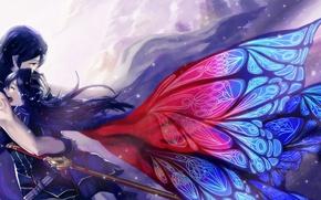 Picture love, wings, anime, tears, art, pair, anime art, anime love, anime couple