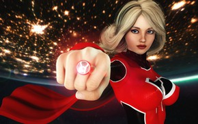 Picture red, girl, supergirl, ring, planet, graphic, flashlight, red lantern, DC, 3D