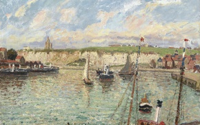 Picture landscape, ship, picture, sail, Camille Pissarro, The Port Of Dieppe Sunny Afternoon