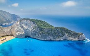 Picture beach, rocks, island, yachts, boats, Greece, The Ionian sea, Zakynthos, Shipwreck