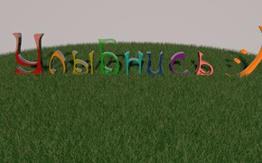 Picture grass, smile, smile, 3D graphics, bulk text, smile