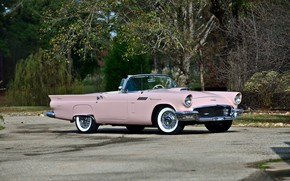 Picture vintage, convertible, pink, classic, 1957, old car, Ford Thunderbird