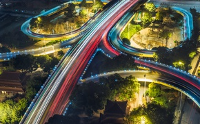 Wallpaper feel of speed, blur, wallpaper., bokeh, excerpt, the city, night, overpass bridge, strip light, road ...