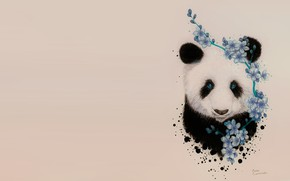 Picture spring, Sakura, art, Panda, Jonna Lamminaho