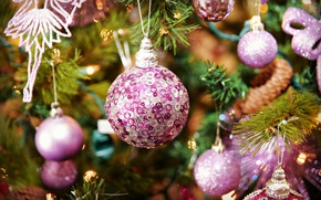 Picture macro, background, holiday, toys, tree, new year, beauty