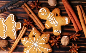 Picture decoration, tree, New Year, cookies, Christmas, cinnamon, happy, Christmas, wood, New Year, Merry Christmas, Xmas, …