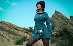 Wallpaper girl, rock, Star Trek, dress, woman, cosplay, brunette, oppai, uniform, seifuku, TV series, Uhura, lofo