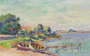 Picture landscape, shore, boat, picture, Arman Hyomin, Armand Guillaumin, Southern Landscape. Le Brusc