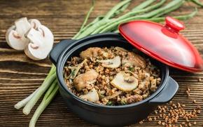 Picture mushrooms, bow, porridge, buckwheat