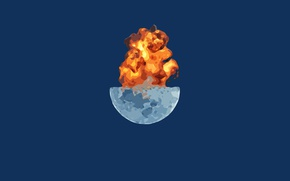 Picture the explosion, the moon, minimalism, blue, boom