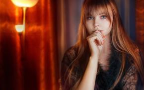 Picture look, hand, portrait, red, redhead, long hair, Anastasia Ljubytinsky, Alexander Drobkov-Light