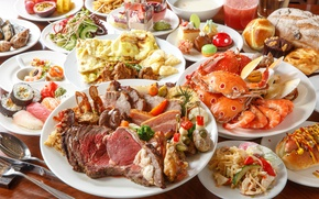 Picture crab, bread, meat, dessert, sushi, seafood, meals, cuts, omelette