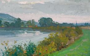 Picture landscape, nature, river, picture, Emanuel Phillips Fox, Evening Effect. France